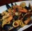 Squid Ink Tagliolini (with Prawns, Clams, Mussels and Calamari in a Tomato Sauce)